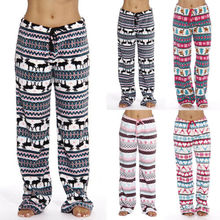 Christmas Pajama Sleep Bottoms Womens Wide Leg Casual Lounge