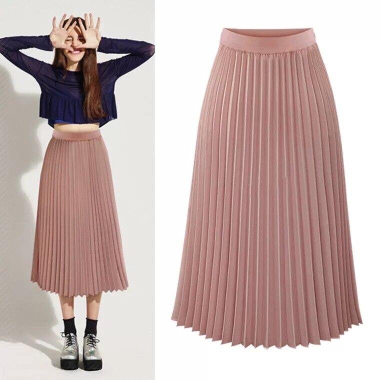 Women's Pleated Skirt New Cartoon Print High Waist Long Skirts Young Girl Summer Large Size Fahion Female Falda