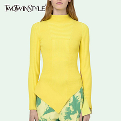 TWOTWINSTYLE минималистичный женский свитер с длинным рукавом и круглым вырезом, тонкий необычный женский свитер, осень 2020, большой размер, модна...