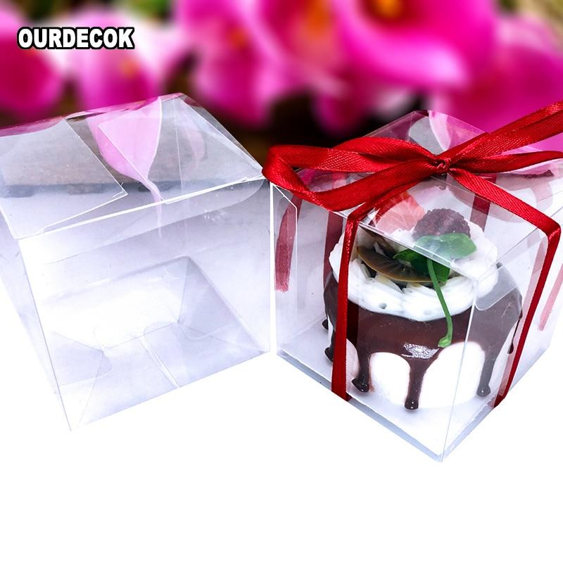10Pcs Bow Square Favor Ribbon Gift Box Candy Boxes Wedding Party Decor Case
