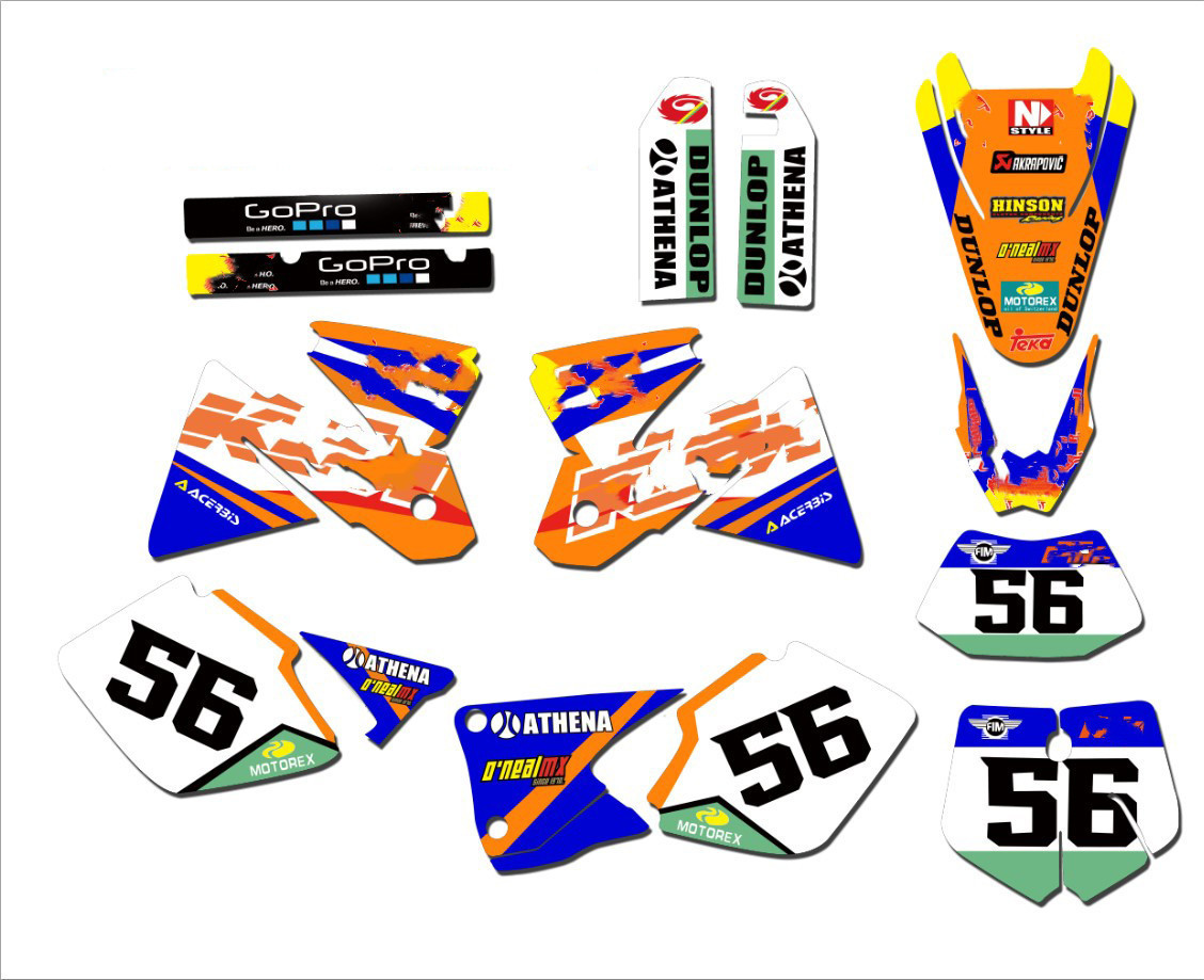 New Full Bull Graphics Decals Stickers 3M Bright Waterproof Sun-proof For KTM SX SXF 125 200 250 300 350 400 450 500 2016 2017 2018