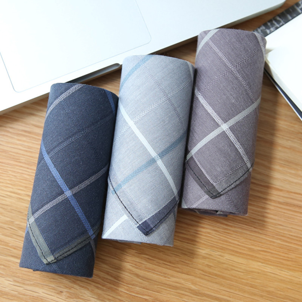 2 Pack Vintage Jacquard Handkerchief Men 100% Cotton Square Plaid Pocket Hanky Women Girls Cute Lovely Kerchief Hankie
