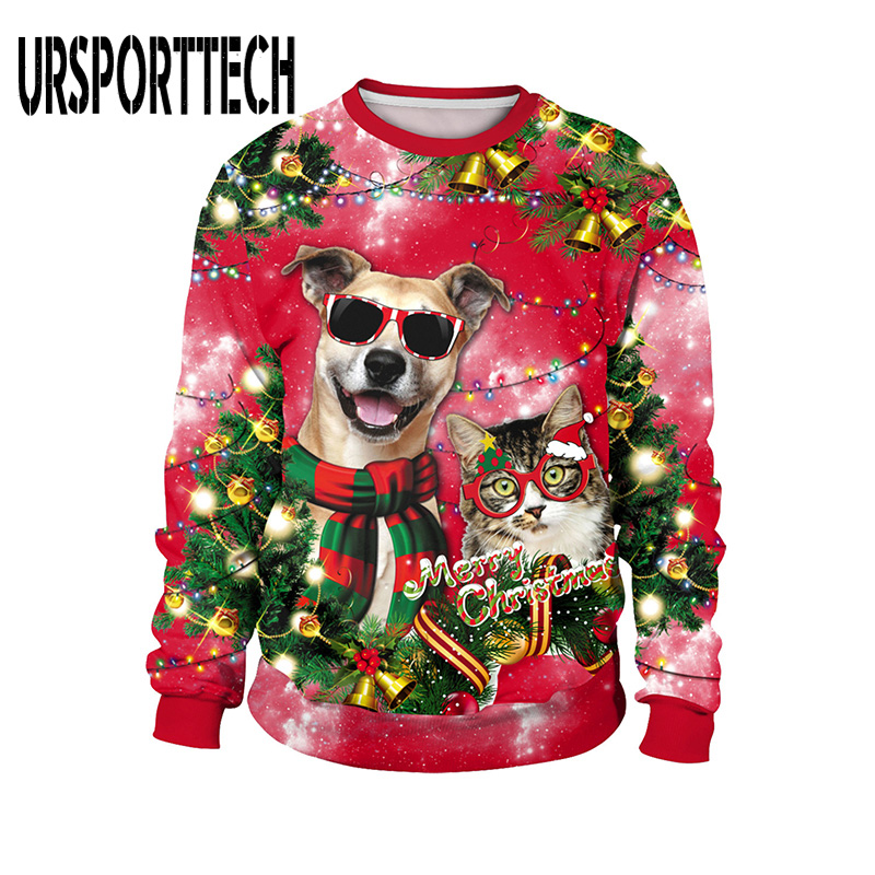 Ugly Christmas Sweaters Men Women Holiday Christmas Tree Snowflakes Couple's Sweater Pullover 3D Funny Xmas Sweatshirt Jumpers