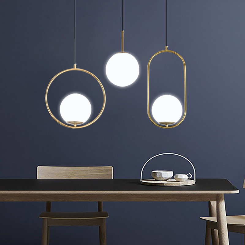 DX 현대 거실/침실/미니멀리스트/레스토랑 펜던트 라이트 북유럽 의류 장식 유리 공 펜던트 램프