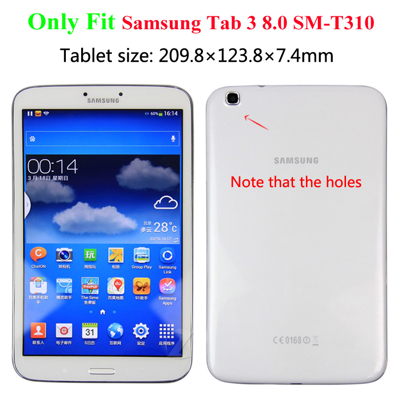 New Coque for Samsung Galaxy Tab 3 8.0 SM-T310 T311 Case 360 Rotation Smart Stand PU Case for Samsung Tab 8.0 T310 T311 360 Case