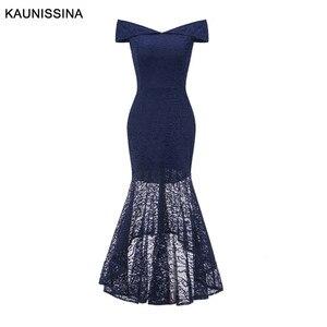 Image 4 - Kaunissina sereia vestidos de cocktail elegante renda magro fora do ombro sexy vestido de festa banquete sólidos vestidos de baile
