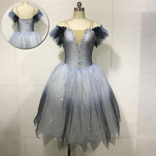 Dancewear Ballet-Costumes Romantic Tutu Girl Women New Long Flat-Shoulder Ombre-Color