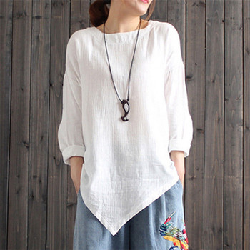 blouse women 2020 sleeve long blouse ladies cotton Linen tops irregular hem Office Blouse tops women Plus Size lady shirt blouse