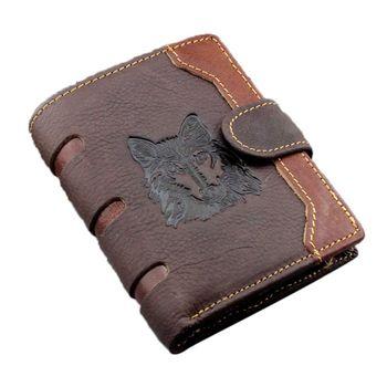 Men's Business Genuine Leather Wallet Wolf Pattern Pocket Credit Card Holder Clutch Bifold Purse men wallet leather credit card photo holder billfold purse business clutch dec07