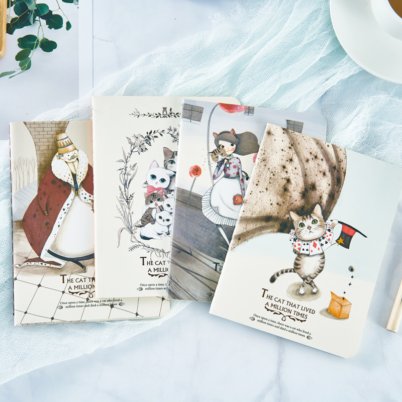 Cute  Japanese And Korean Stationery A6 Kawaii Cat Hardcover Notebook Gift Notepad Diary Book New Arrive Hot Sale