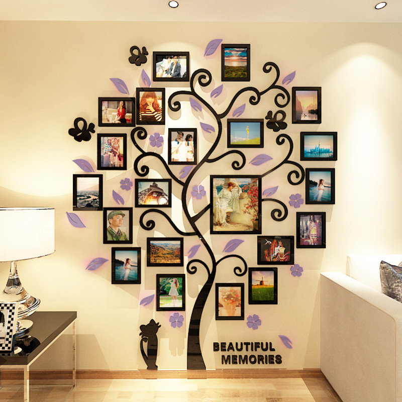 3D Acrylic Crystal Wall Sticker Adhesive DIY Stereo Photo Frame Tree Pattern Wear Resistant Home H99F