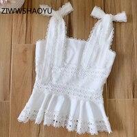 ZIWWSHAOYU 2020 Women's Summer white Linen Bow Strap Tops Runway Designer Ladies Ruffles Embroidery Fashion Vest Camis
