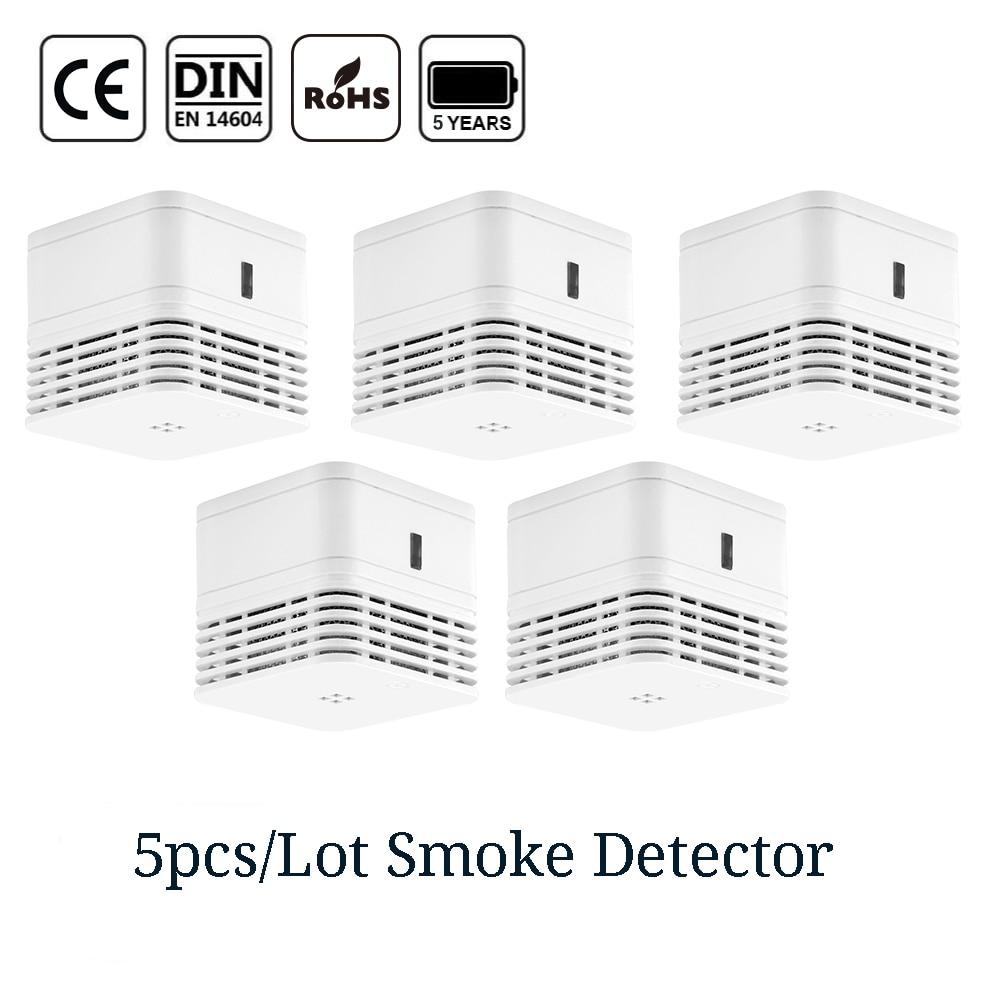 CPVan 5pcs/Lot Smoke Detector CE Certified EN14604 Fire Alarm Sensor 5 Yr Smoke Alarm Fire Detector 85dB Photoelectric Smoking