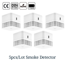 CPVan 5pcs/Lot smoke detector CE Certified EN14604 fire alarm sensor 5 yr smoke alarm fire detector 85dB photoelectric smoking