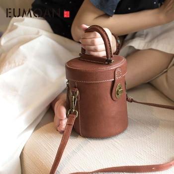 New original retro large capacity bucket bag handmade leather handbag simple shoulder Messenger bag