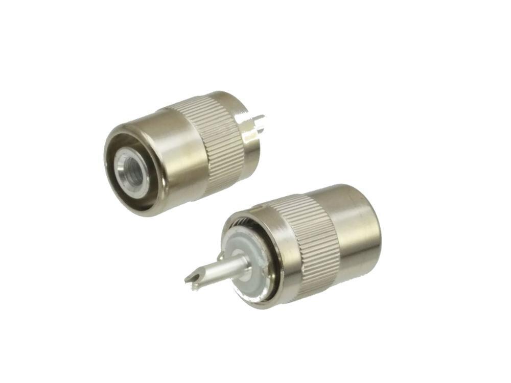 Conector macho uhf pl259 plug solda rg58 rg142 lmr195 rg400 rf cabo prata