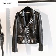 SWYIVY Women Faux Leather Coats Pu Streetwear Baseball Coat 2019 Spring New Female Lapel  Jackets Black Woman Jacket