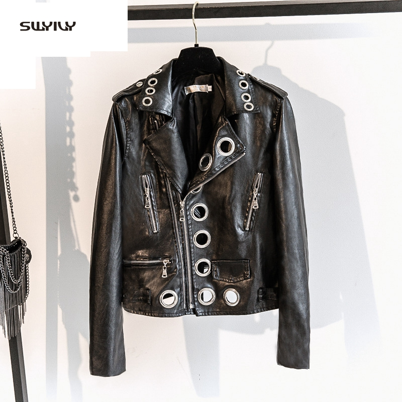 SWYIVY Women Faux   Leather   Coats Pu Streetwear Baseball Coat 2019 Spring New Female Lapel Jackets Black Woman   Leather   Jacket