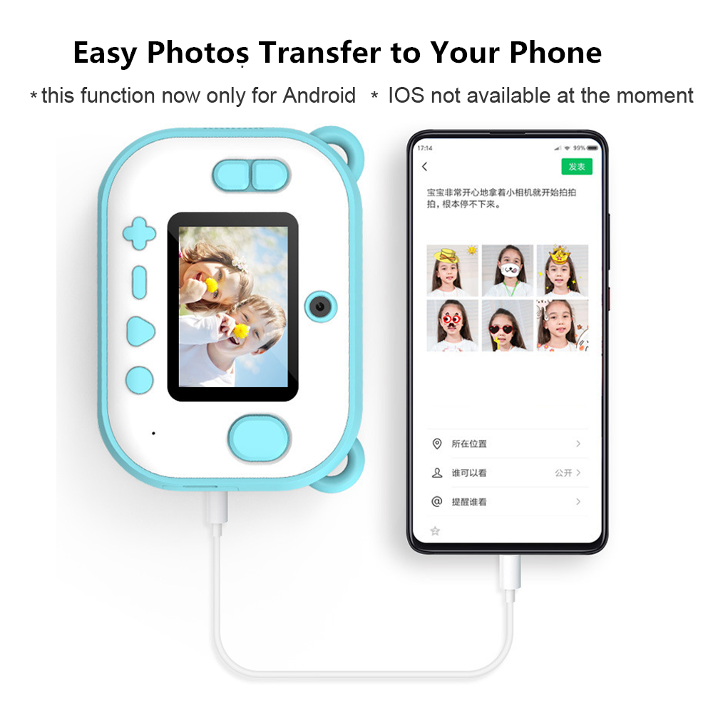 Cute HD kids Instant Thermal Printer Camera Dual Lens with LED Flash IPS Screen Video Children