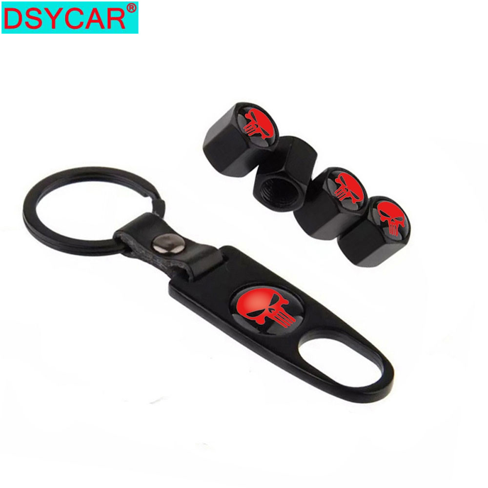DSYCAR 4Pcs/Set Red Skull Style Bike Motorcycle Car Tire Valve Stem Caps For Car/Motorcycle,Air Leakproof ,Protection