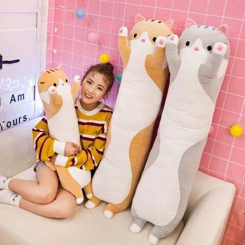 bonito animal gato travesseiro do bebe brinquedos de pelucia dormir travesseiro presentes de aniversario para