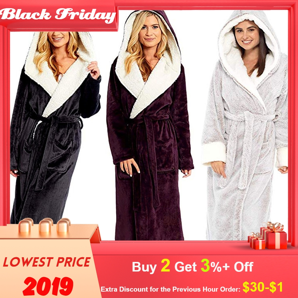 Bathrobe Women Winter Plush Lengthened Shawl Bathrobe Home Clothes Long Sleeved Robe Coat Peignoir Femme