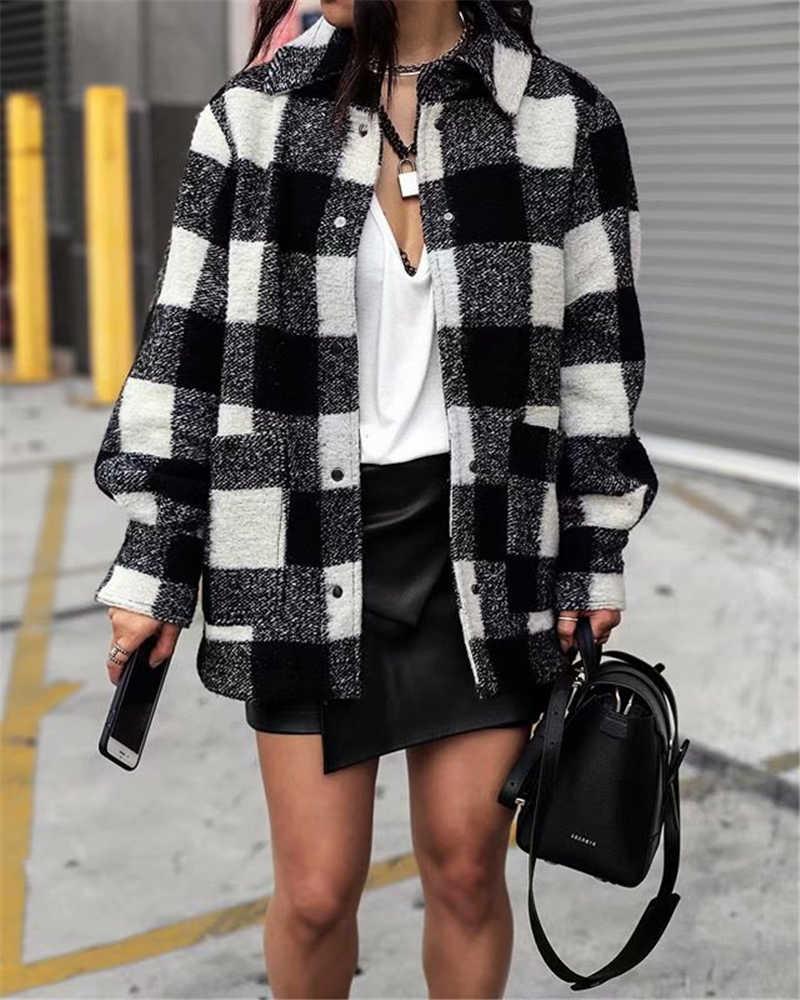 Женская винтажная клетчатая куртка с карманами, свободная верхняя одежда с  отложным воротником и длинным рукавом, 2020      АлиЭкспресс