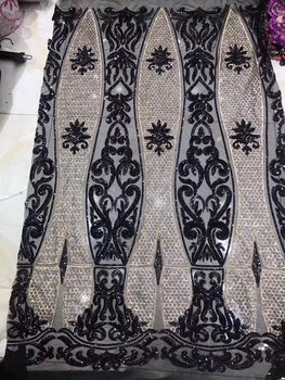 Nigerian sequined tulle lace fabric 2019 high quality French mesh lace fabric for wedding embroidery African lace fabric HS34351