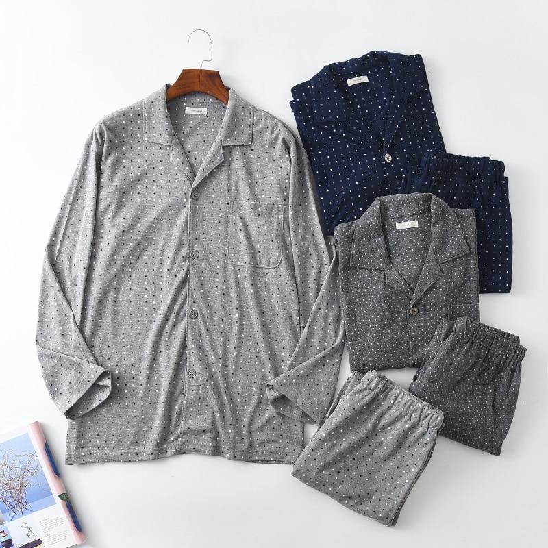 Pajamas For Men Autumn Long Sleeve Knitted Cotton Sleep Wave Point Pajama Set