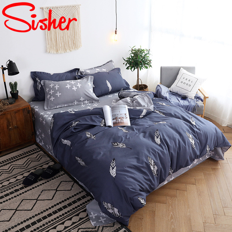 Image 5 - Sisher Nordic Bedding Sets Queen Size Plant Leaf Floral Plaid Stripe Duvet Cover Single Double King Set Quilt Cover Bed SheetDuvet Cover   -