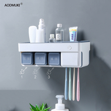 Toothbrush Holder UV Sterilizer Automatic Toothpaste Squeezers Dispenser Bathroom Storage Accessories Set