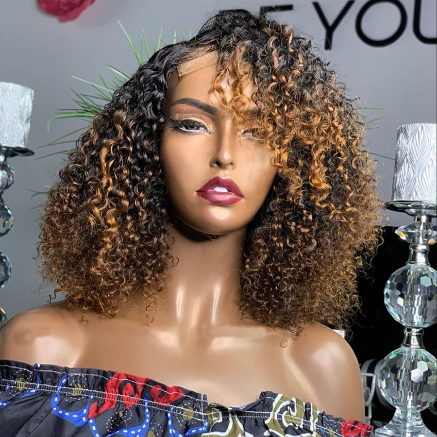 180Density Bouncy Curly Ombre Full Lace Human Hair Wigs With Baby Hair Pre Plucked 360 Lace Frontal Wigs Bleached Knots Remy