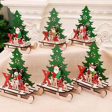 PATIMATE Christmas Wooden Elk Tree Ornaments Merry Decorations For Home 2019 Xmas Navidad Decor Happy New Year 2020
