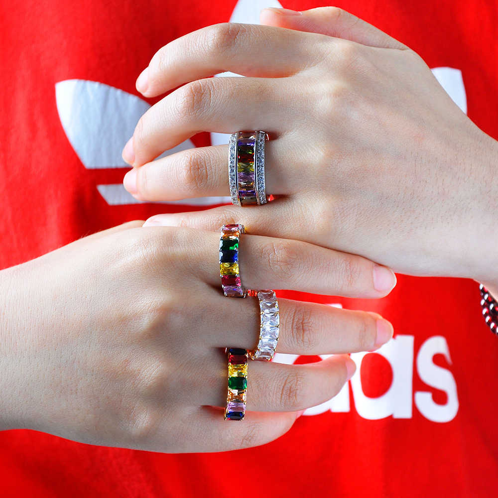 7 Phong Cách Dainty Cầu Vòng Rainbow Nhiều Màu Sắc Nhiều Màu CZ Vĩnh Cửu Vuông Baguette Ngón Tay Nhẫn Nữ Con Cái Món Trang Sức Phụ Kiện