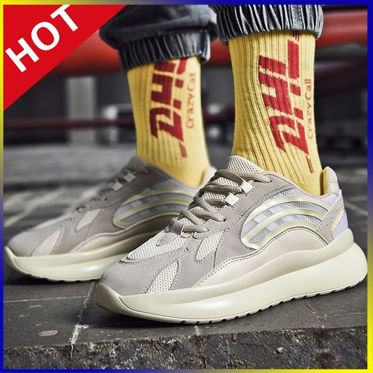 Fashion Retro Chunky Sneakers Man Casual Shoes Reflective Tide Jogging Non-slip Walking Zapatos Hombre