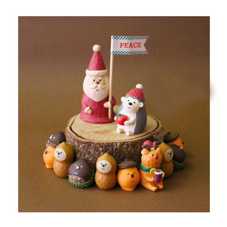 6 types kawaii cute cartoon animal fox bear squirrel Hedgehog Santa Claus new year <font><b>figures</b></font> miniature figurines Christmas gifts image