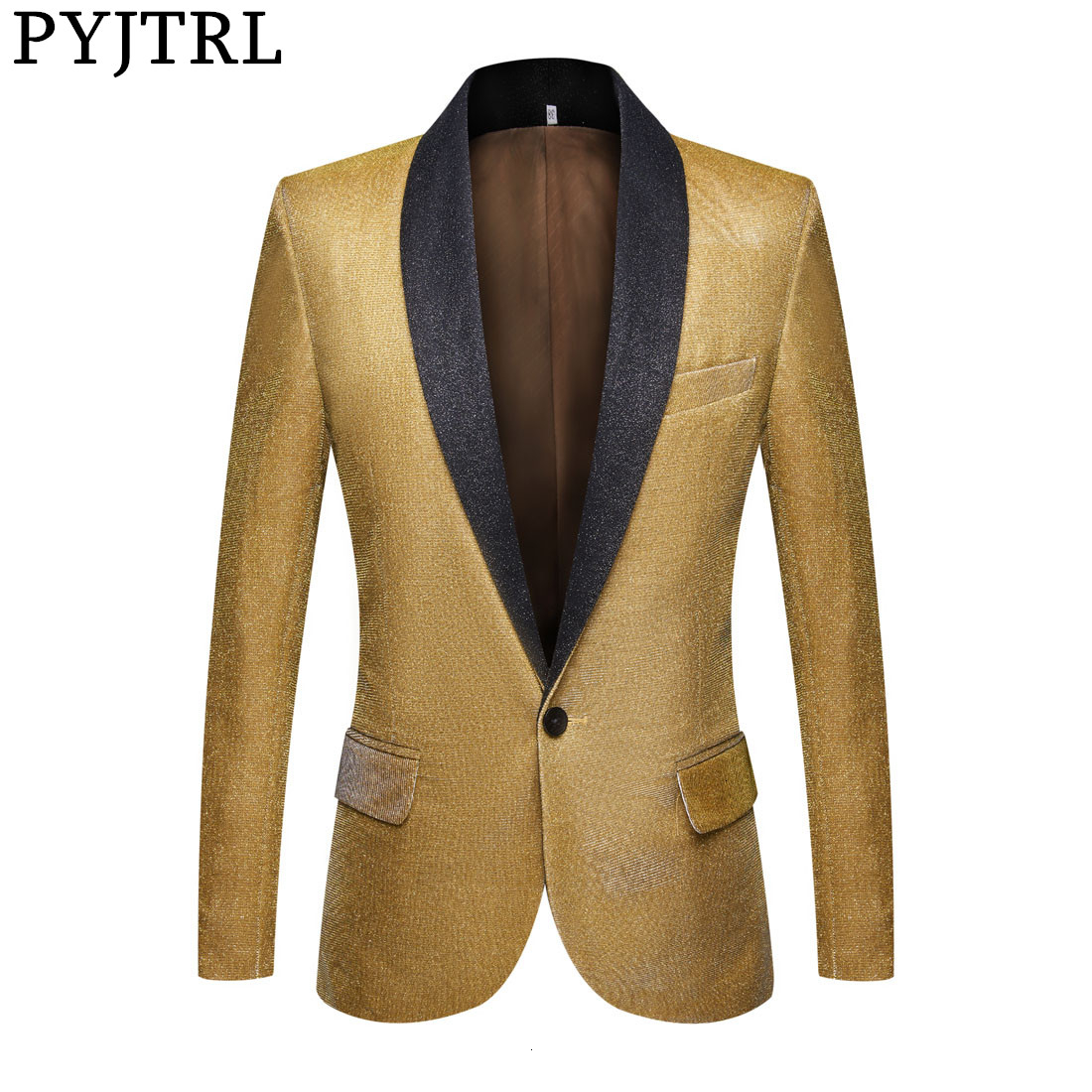 PYJTRL Mens Fashion Fantasy Color Shiny Gold Blue Purple Green Blazers Wedding Grooms Prom Dress Suit Jacket DJ Singers Costume