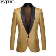 Pyjtrl moda dos homens fantasia cor brilhante ouro azul roxo verde blazers casamento noivos vestido de baile terno jaqueta dj cantores traje