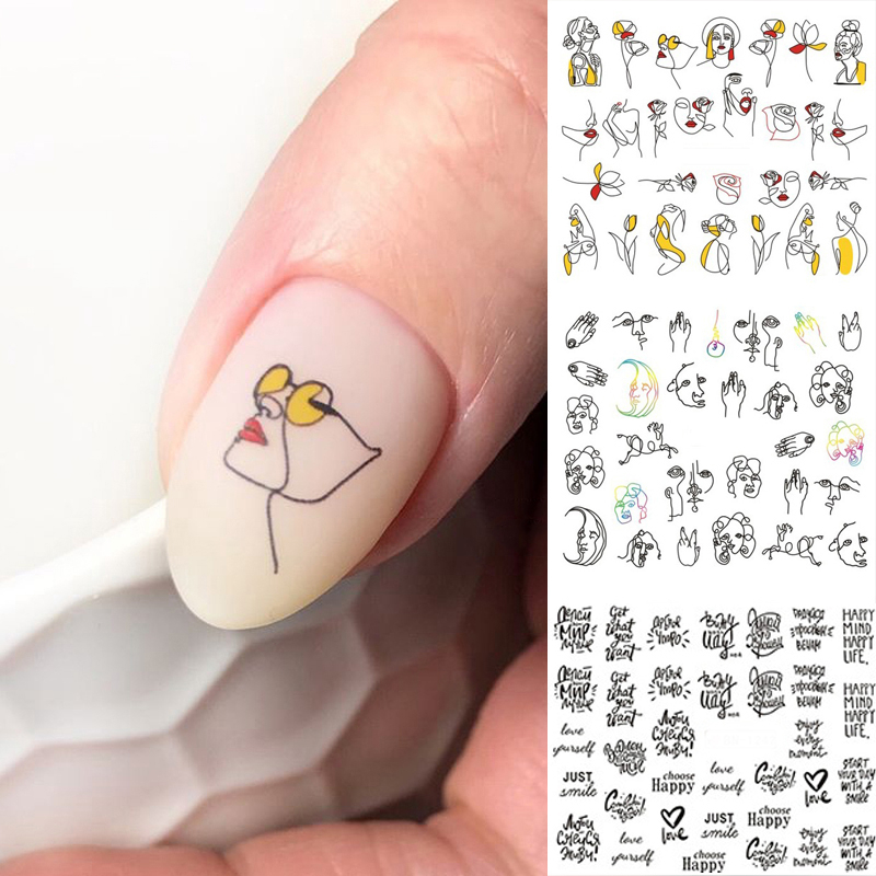 12images/sheet Black Line Colorful Abstract Image Nail Sticker Decals <font><b>Sexy</b></font> Girl Water Transfer Slider For Nails Art image
