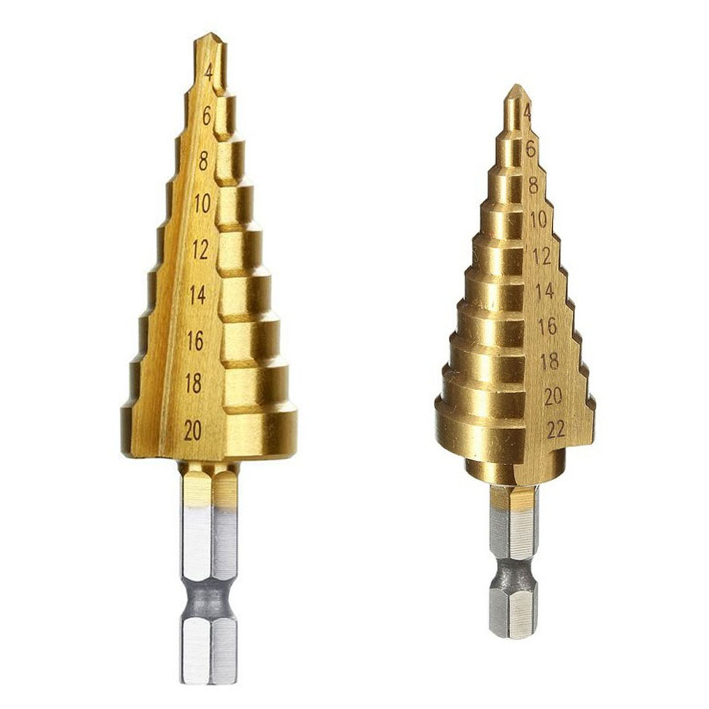 4-20/4-22 Titanium Coated Step Drill Bit Drilling Power Tools For Metal High Speed Steel Wood Hole Cutter Cone Drill