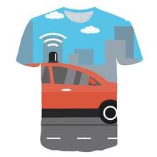 футболка Boys Oversized T-Shirt Summer 2021 Children's Cartoon Car 3D Printed O Neck Short Sleeve Cool Funny Casual Tee Tops