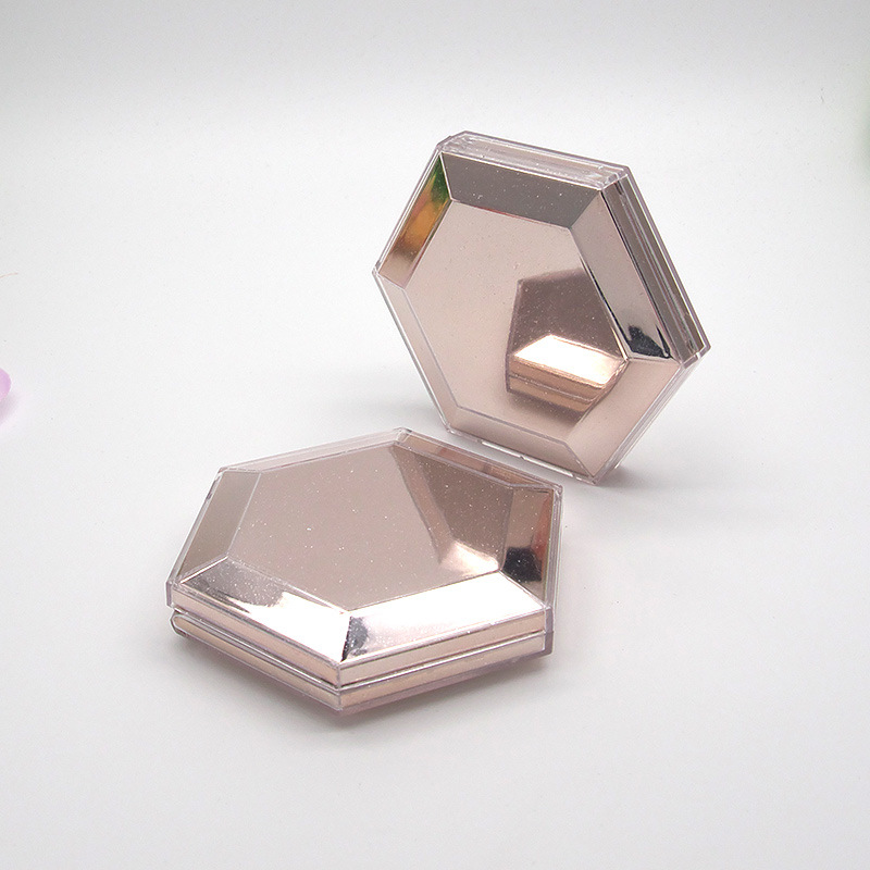 25 pcs/lot Empty Compact Powder Container Hexagon Shaped Dia,54mm Makeup Packaging High Light Powder Blush Compact with Mirror