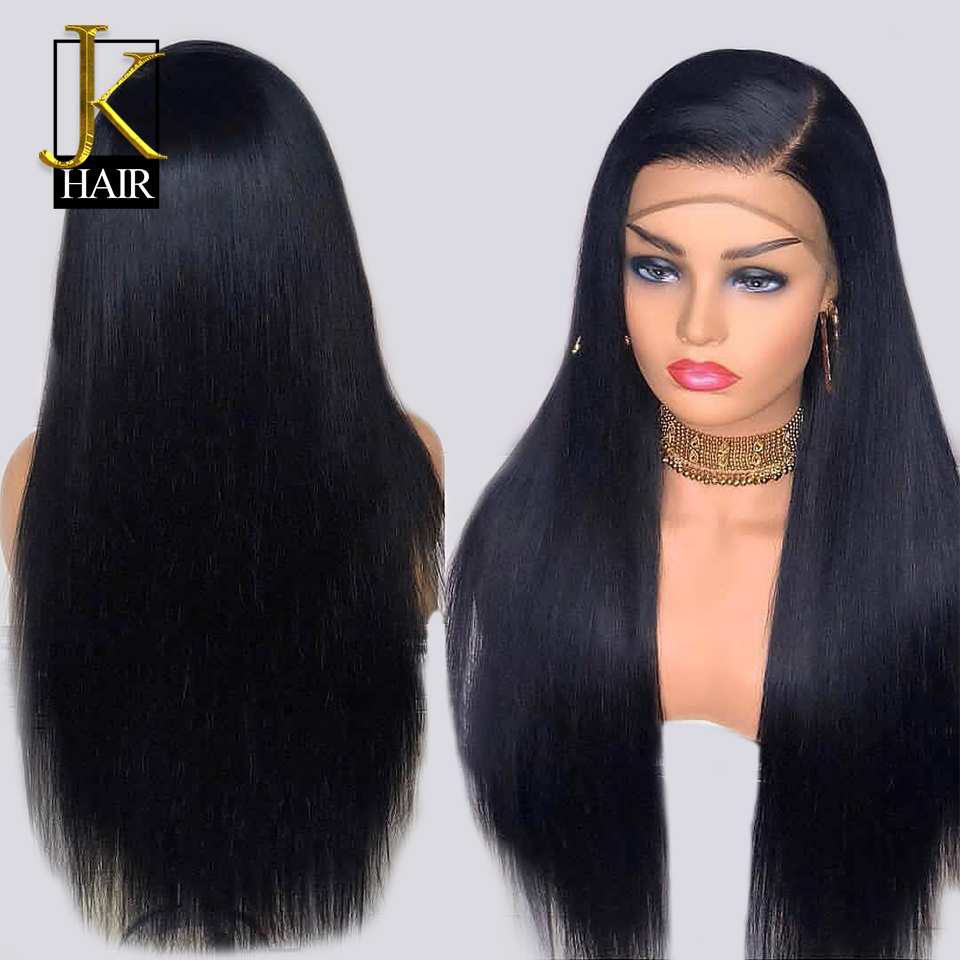 250 Density Lace Front Human Hair Wigs Remy Brazilian Straight Lace Wig Natural Black For Women Bleached Knots With Baby Hair JK