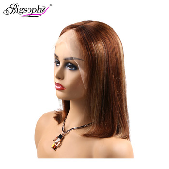 Bigsophy Hair Peruvian Bob Wig 150% Density Straight Short 13X4 Ombre Lace Front Human Wigs With Baby Remy