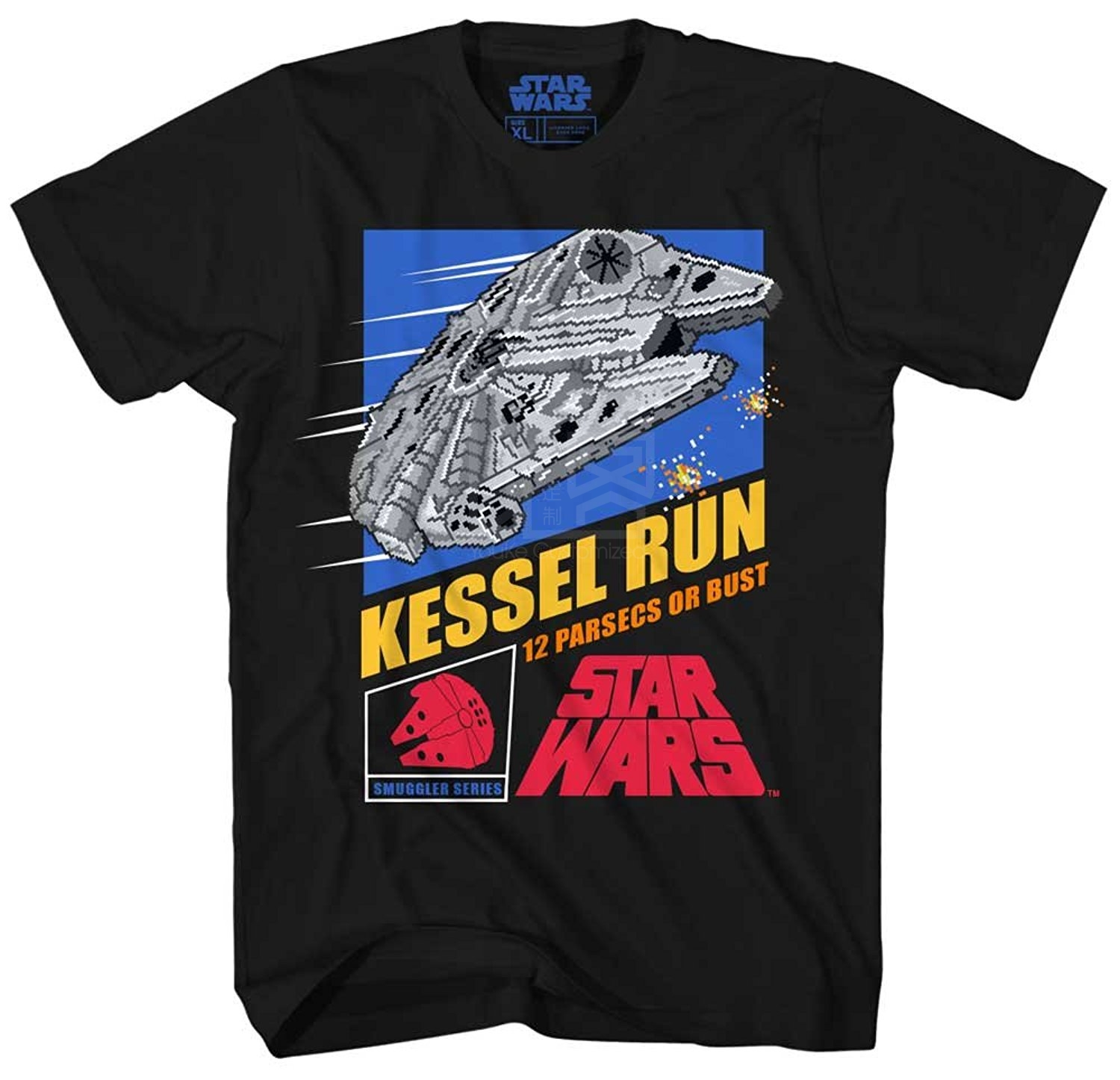 Star Wars Millennium Falcon Han Solo Chewbacca Chewie Kessel Runer Video Game Funny T Shirt Pun Mens Adult Graphic Tee T-shirt image