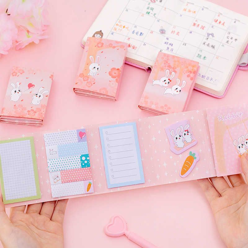 Ellen Brook 1 Pcs Korean Kawaii Sticky Folding Rabbit Notes Creative Post Notepad DIY Memo Pad Office Supplies School Stationery