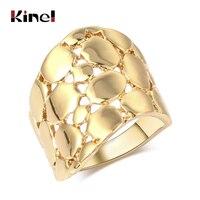 Kinel-Anillo de cóctel con dedo dorado ancho para mujer, sortija Punk geométrica de Metal pesado, tamaño 6, 7, 8, 9, joyería Vintage, Shippi