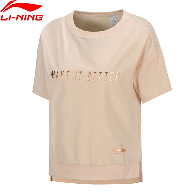 Li-Ning Women Training Short Sleeve Top 58%Cotton 42%Polyester Breathable LiNing Li Ning Sports T-Shirts Tees ATSQ016 WTS1537