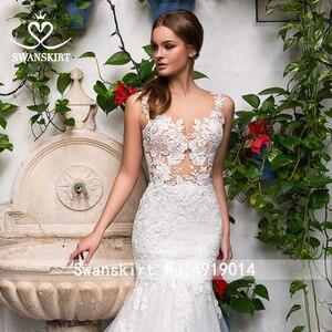 Image 5 - סקסי אפליקציות בת ים חתונת שמלה מתוקה אשליה תחרת משפט רכבת Swanskirt GI14 כלה שמלת נסיכת Vestido דה novia