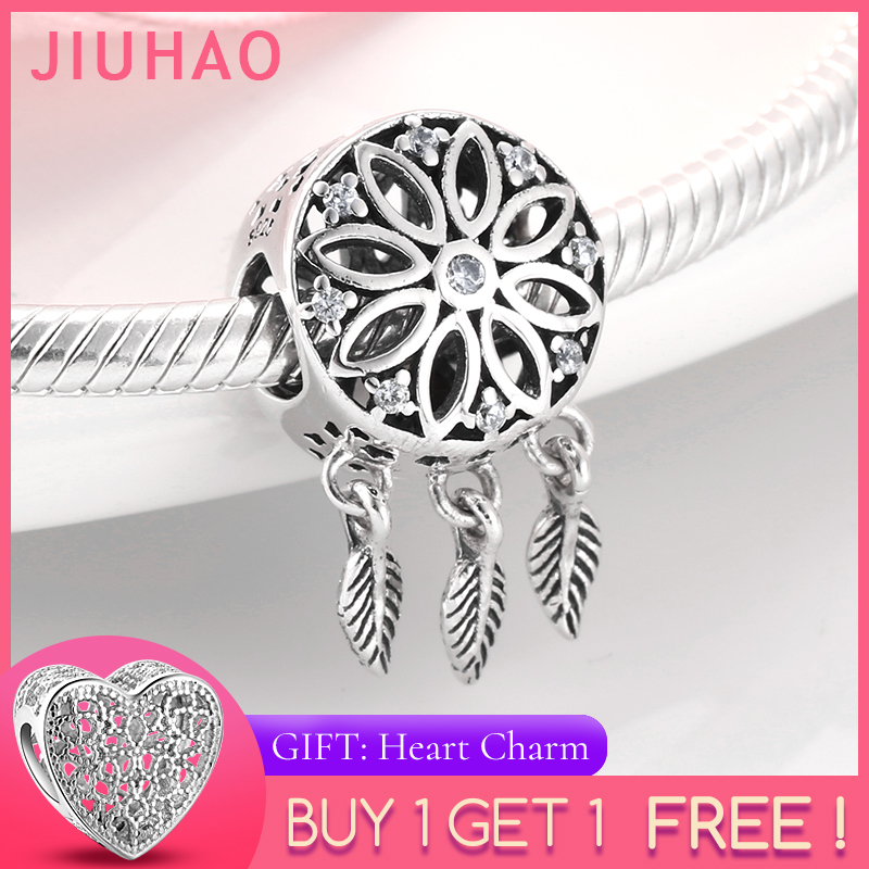 New 925 Sterling Silver Fashion Hollow Blessing Dreamcatcher Round DIY Beads Fit Original Pandora Charm Bracelet Jewelry Making